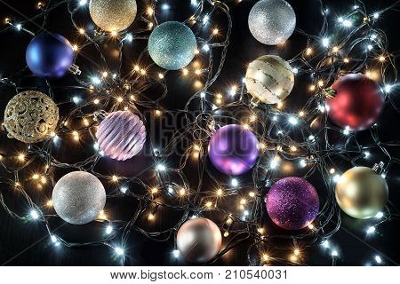 Colorful Christmas Decorations on a Black Background