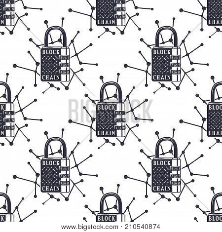 Blockchain security seamless pattern, bitcoin wallpaper, crypto concept. Digital assets background. Vintage han drawn monochrome design. Technology badges. Stock vector illustration isolated.