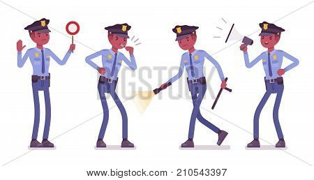 Policeman with signals and light. Black male officer showing stop signal, whistling, shouting using megaphone bullhorn. Vector flat style cartoon illustration isolated on white background