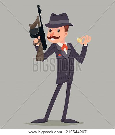 Gangster Submachine Gun Thug Criminal Character Icon Retro Cartoon Design Vector Illustration