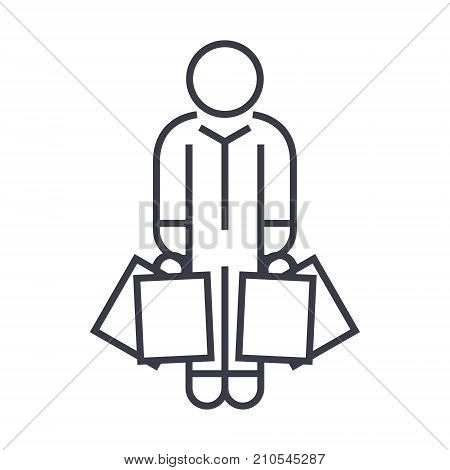 shopper man with bags line icon, sign, symbol, vector on isolated background