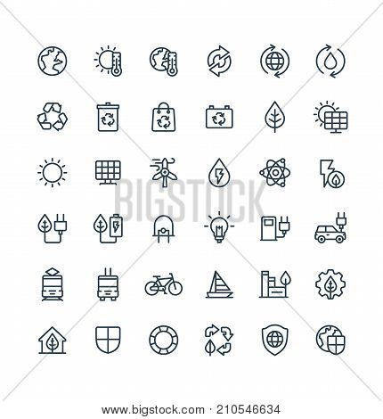Vector thin line icons set and graphic design elements. Illustration with environmental and ecology outline symbols. Eco, bio energy, wind power, recycle, electric car charge station linear pictogram