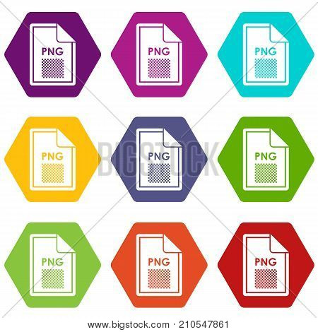 File PNG icon set many color hexahedron isolated on white vector illustration