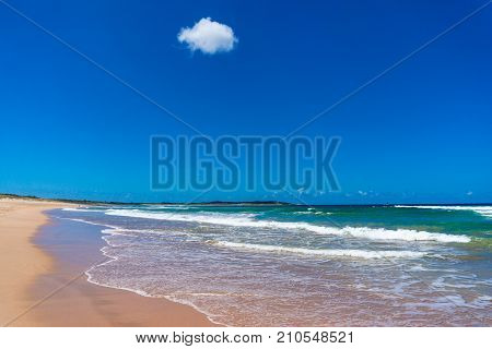 Beach Shore With Sand And Mild Waves