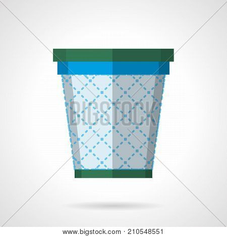 Symbol of empty mesh wastepaper basket. Equipment and accessories for office and workplace. Flat color style vector icon.