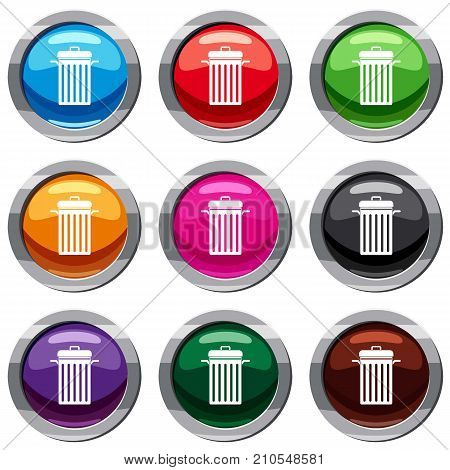 Metal trash can set icon isolated on white. 9 icon collection vector illustration