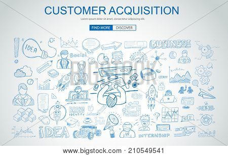 Customer Acquisition concept with Business Doodle design style: online presence, sales and offers, best communication. Modern style illustration for web banners, brochure and flyers.