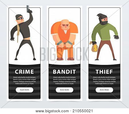 Crime, bandit, thief, criminal and convict banners cartoon vector elements for website or mobile app with sample text