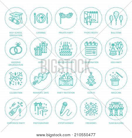 Event agency, wedding organization vector line icon. Party service - catering, birthday cake, balloon decoration, flower delivery, invitation, clown. Thin linear sign of corporate party, team building