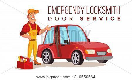 Locksmith Repairman Vector. Unlock The Door Service. Cartoon Character Illustration