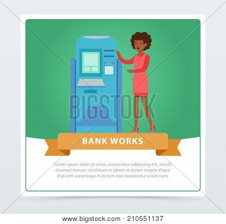 Consultant manager woman standing next to ATM, bank works banner for advertising brochure, promotional leaflet poster, presentation flat vector element for website or mobile app with sample text