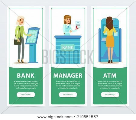 Banking service set, ATM, registration and payment terminal, staff, clients, bank works banners for advertising brochure, promotional leaflet poster, presentation flat vector elements for website or mobile app with sample text