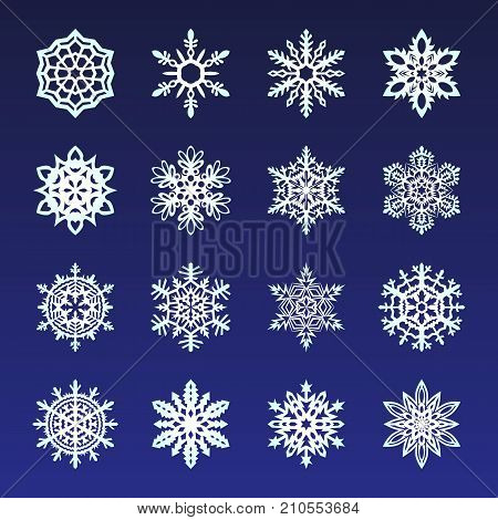 Separate Snowflakes Doodles Vector Rustic Christmas Clipart New Year Snow Crystal Illustration In Fl