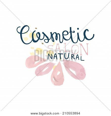 Cosmetic salon logo, label for hair or beauty studio, natural cosmetic, spa center watercolor vector Illustration on a white background