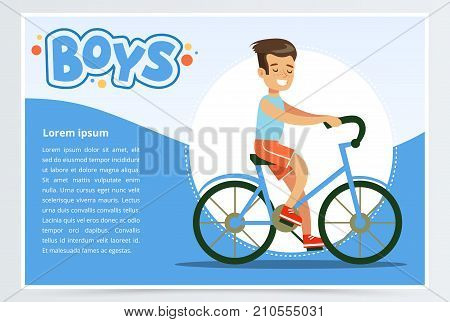 Boy cycling on bicycle, boys banner for advertising brochure, promotional leaflet poster, presentation flat vector element for website or mobile app with sample text