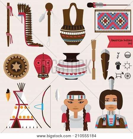Vector set with native american indians houseware objects music instruments and accessories. Pottery rugs tepee false face mask and more.