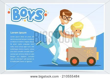 One boy pushing to another while he is sitting in a toy car, boys banner for advertising brochure, promotional leaflet poster, presentation flat vector element for website or mobile app with sample text