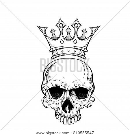 Hand drawn sketch skull with crown tattoo line art. Vintage vector illustration isolated on background.