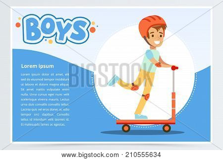Boy riding kick scooter, boys banner for advertising brochure, promotional leaflet poster, presentation flat vector element for website or mobile app with sample text