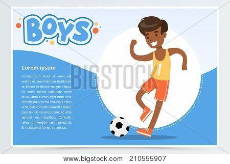 Smiling african boy plalying soccer, boys banner for advertising brochure, promotional leaflet poster, presentation flat vector element for website or mobile app with sample text
