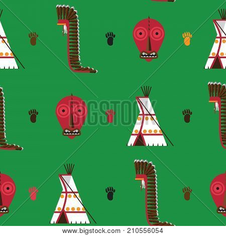 Seamless pattern with bright green background. American native indians housware as tepee false face mask and war bonnet drawn in flat style
