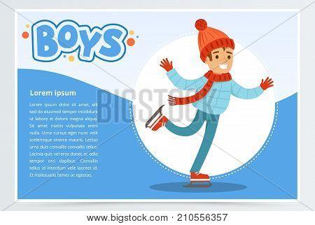 Happy boy skating on Ice rink, boys banner for advertising brochure, promotional leaflet poster, presentation flat vector element for website or mobile app with sample text