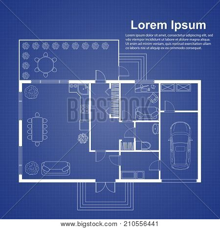 Architectural vector photo free trial bigstock architectural background template on blue house plan on blueprint background with place for text malvernweather Images