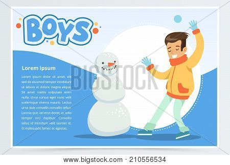 Smiling boy making a snowman, boys banner for advertising brochure, promotional leaflet poster, presentation flat vector element for website or mobile app with sample text