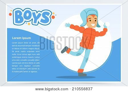Smiling boy in winter clothes, boys banner for advertising brochure, promotional leaflet poster, presentation flat vector element for website or mobile app with sample text