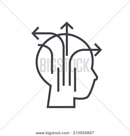 different business thinking line icon, sign, symbol, vector on isolated background