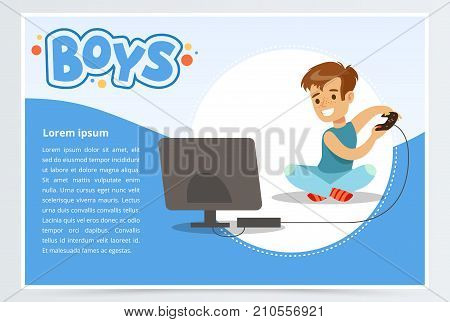 Boy with remote control playing video game console, boys banner for advertising brochure, promotional leaflet poster, presentation flat vector element for website or mobile app with sample text