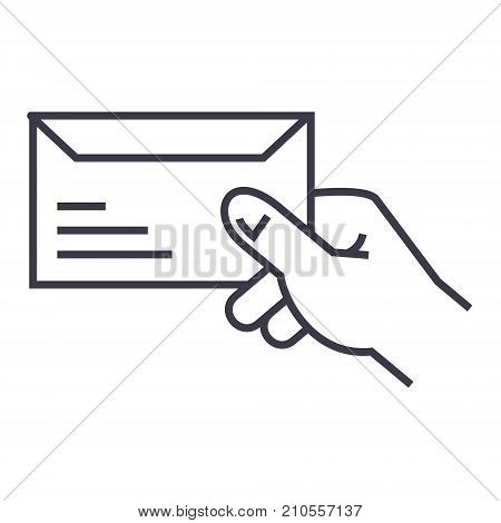 get mail line icon, sign, symbol, vector on isolated background