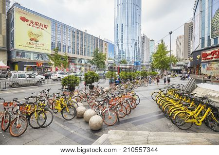 Chengdu, China - September 29, 2017: Public Shared Bicycles Are Very Popular In Chengdu City.
