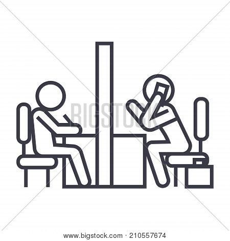 negotiation room, coworking office line icon, sign, symbol, vector on isolated background