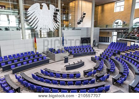 Plenary Hall Of German Parliament (bundestag) In Berlin