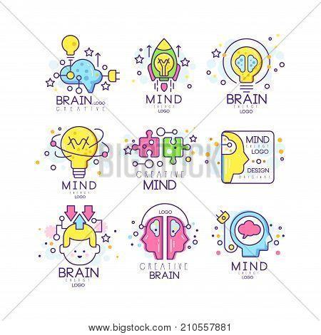Mind energy original logo design set, creation and idea elements colorful vector Illustrations on a white background