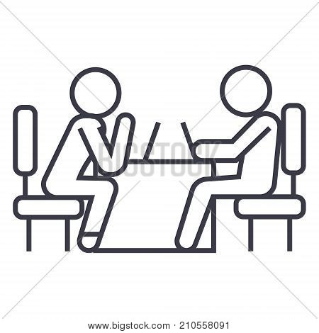 psychologist and patient line icon, sign, symbol, vector on isolated background