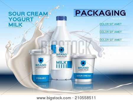 Milk Bottles Mock Up Realistic Vector. Sour Cream And Yogurt Products. 3D Packaging Label Designs. M