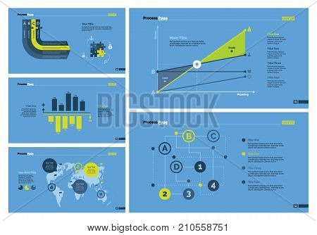 Infographic design set can be used for workflow layout, diagram, annual report, presentation, web design. Business and statistics concept with process, line, bar and area charts.