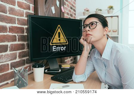 Depressed Office Worker Lady Sitting In Front Of Error Computer Daydreaming Thinking Working Solutio