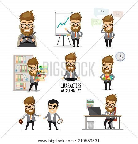 Businessman working day set. Young hipster businessman in black business suit in various work situations. Business people in office. Office life collection. Vector illustration in flat design.