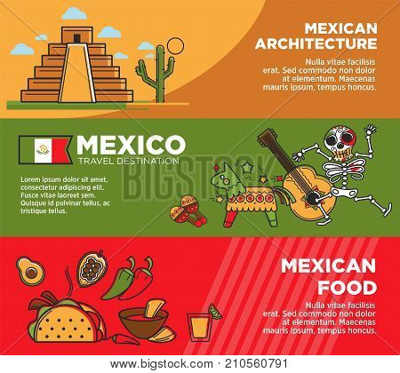 Mexico travel famous symbols or tourist traditional culture attractions and traditional cuisine food banners. Vector Mexican flag, Aztec or Maya pyramid architecture, sombrero and tequila or banjo
