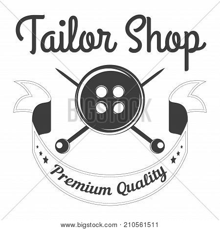 Tailor shop of premium quality monochrome logotype with big black button, crossed sharp needles behind and sign in italic on ribbon isolated cartoon flat vector illustration on white background.