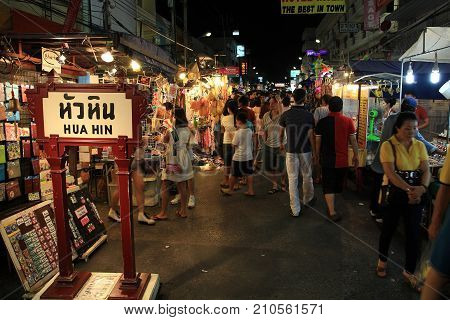 Tourists Visit Hua Hin Night Market.