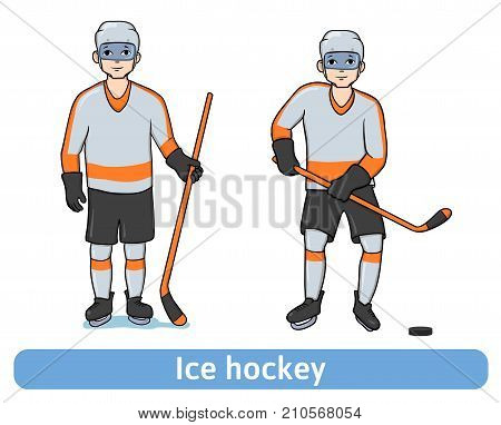 Young Man playing hockey. Hockey player with a stick standing and in motion. Winter sport, active recreation. Vector Illustration, isolated on white background.