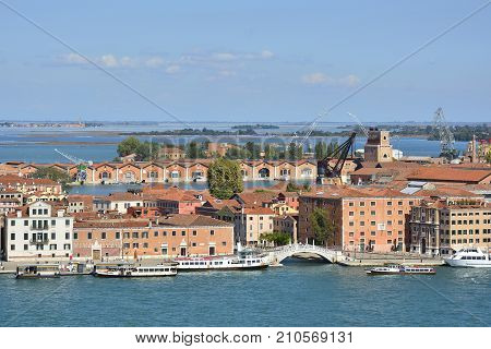 The view from the top of the bellltower of San Giorgio Maggiore church in Venice showing the Arsenale and the Torre di Arsenale