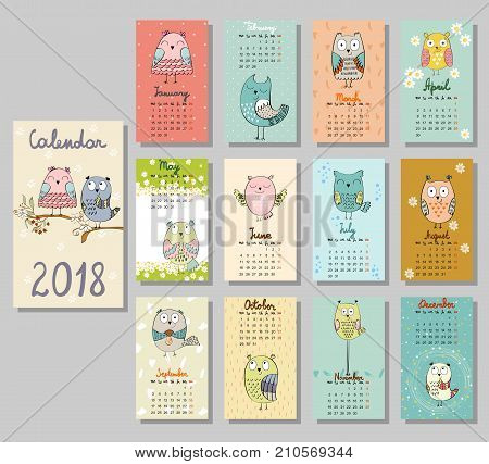 Calendar 2018. Cute calendar with funny cartoon owls