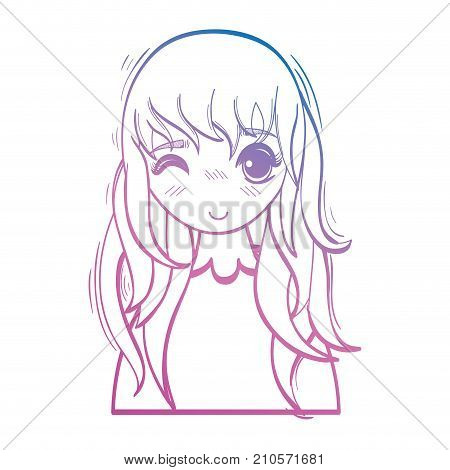 line beauty anime girl with hairstyle and blouse vector illustration