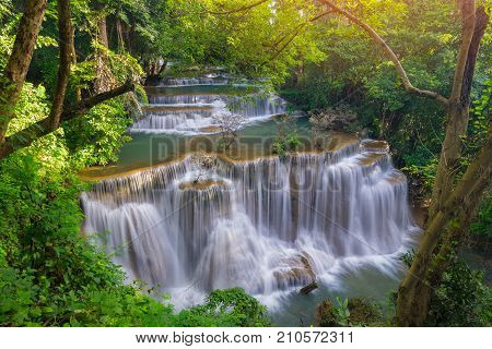 Amazing beautiful waterfalls in tropical forest at Huay Mae Khamin Waterfall in Srinakarin Dam National Park Kanchanaburi Provice Thailand