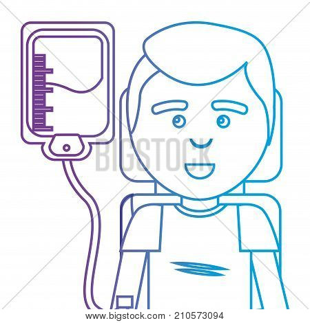 line man with blood donation donor transfusion vector illustration